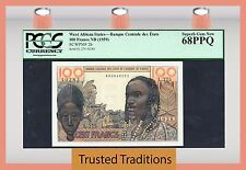 TT PK 2b ND 1959 WEST AFRICAN STATES 100 FRANCS PCGS 68 PPQ POP 1 FINEST KNOWN