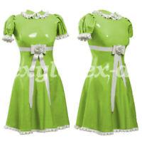 Latex Women Bodysuit Ganzanzug Gummi Maid Dress Catsuit Rubber Cow Shirt S-XXL