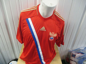 VINTAGE adidas RUSSIA NATIONAL MEN'S TEAM SEWN XL JERSEY 2012  KIT PREOWNED