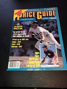 Baseball Card Price Guide Magazine Back Issue April 1988 Don Mattingly cover