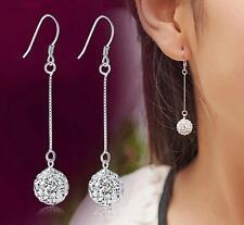 925 Silver Earrings 8MM Crystal Ball Ear Drop For Women Jewelery Xmas Gift