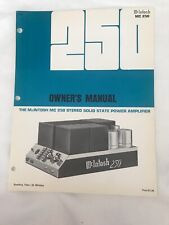 McIntosh MC250 Original Owners Manual