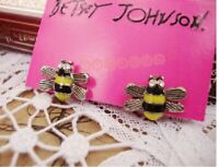 E62 A Betsey Johnson Mini Yellow Rhinestone Crystal Queen Bumble Bee Earrings UK