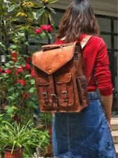 Real Genuine Leather Double Backpack Fashion retro Style Vintage New School Bag