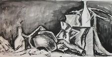 VINTAGE MODERNIST INK/PASTELS PAINTING STILL LIFE WITH VESSELS