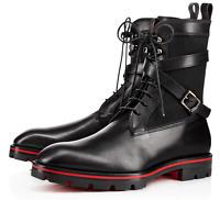 CHRISTIAN LOUBOUTIN Safacroc Black Leather Boots Vintage Double Strap 41.5/8.5