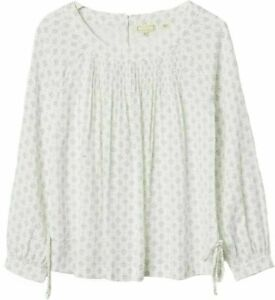 WOMENS FAT FACE Ivory Rae Diamond Soft Cotton Blend Smock Pleat Blouse Top 6/18