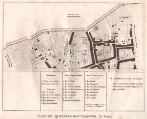 """PARIS.""""Montmartre""""(2/nord).Plan Quartier.St Georges.Rochechouart.9e 1808 map"""