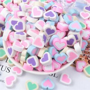 10pcs DIY Craft Cabochons 15mm Heart Shaped Polymer Clay Flatbacks Jewelry Charm