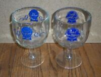 SET OF 2 DIFFERENT STYLES Vintage Pabst Blue Ribbon Beer Thumbprint 16oz Goblets
