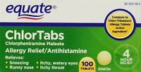 Equate Chlortabs Allergy Relief Antihistamine 100 Tablets EXP 12/18