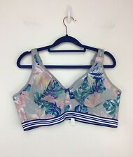 Cacique Cotton Unlined Full Coverage Wireless Bra Gray Tropical Floral 42DD NEW