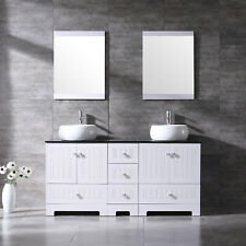 """Double 60"""" Bathroom Tempered Glass Vanity Cabinet Ceramic Sink w/Mirror Faucet"""