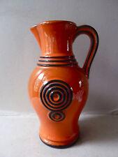 grand vase pichet, orange et noir, céramique Verceram, vintage années 60