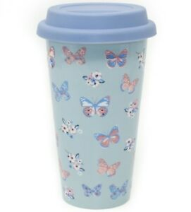 Butterfly Paradise Insulated Double Walled Blue Travel Mug Ceramic JenniferRose