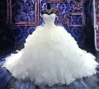 New White/Ivory Ruffle Sweetheart Ball Gown Wedding Dresses Bridal Gowns UK 6-30