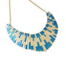 502c909bc7f6 Maravilloso Collar Azul Esmalte Geométrico Plastrón Elegante de Corte  Promoción