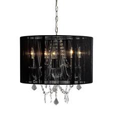 Moderno Cromato 5 luci lampadario da soffitto con paralume in tessuto nero camera da letto salotto NUOVO