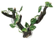 Sucker Mounted Branch with Silk Plants 25cm Aquarium Vivarium Decoration