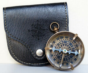 Antique Brass Maritime Pocket Compass Dollond London With Black Leather Case