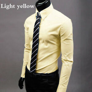 Men Cotton Slim Fit Long Sleeve Formal Office Business T-Shirt Work Clothes