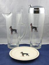 Vintage Cocktail Martini Glass Shaker & Pitcher Barware - Doberman Dog Motif