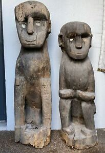 Antique 2pc Primitive Carved Wood Ifugao Bulul ? Rice God Diety Totem Sculptures