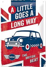 Mini A Little Goes A Long Way embossed metal sign  300mm x 200mm  (na)