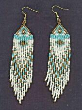 Native American Style Beaded Earrings Long New Handbeaded Turquoise and White