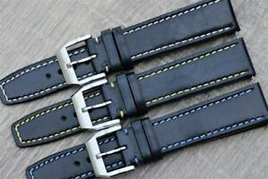 Handmade Watch Strap Bluish-Black Genuine Calf Leather Contrast Stitch 20mm 22mm