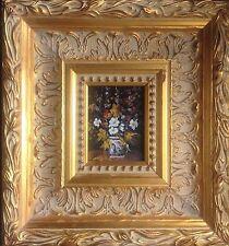 Madeleine HELLET1906.Nature morte au bouquet.Huile sur panneau.SBG.7,5x9,5.Cadre