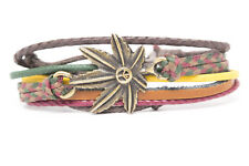 Marihuana Leaf with Peace Fashion Style Jewelry Leather Charm Bracelet DIM254