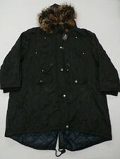 Yours Womens Twill Lined Parka w/ Faux Fur Trim Hood Black US 32-34 UK 34-36 NWT