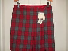 E-LAND Girls Red Gray Plaid Lined Skirt Size 12 NEW