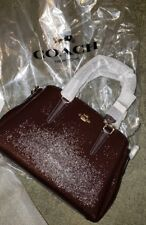 NWT COACH CROSSGRAIN MINI SAGE CARRYALL oxyblood cranberry LEATHER F32018