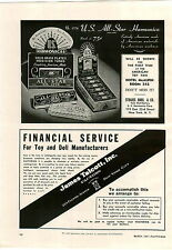 1941 PAPER AD US Harmonicas All Star Store Display Box Sign
