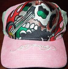 DON ED HARDY EMBROIDERED SKULL & CHOPPER PINK CORDUROY CAP/HAT, RARE, NEW!