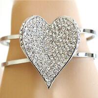 BRACCIALE donna argento rigido CRISTALLISTRASS bracelet armband pulsera браслет