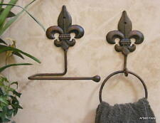 Set/2 Fleur De Lis Iron Toilet Paper Holder Towel Ring