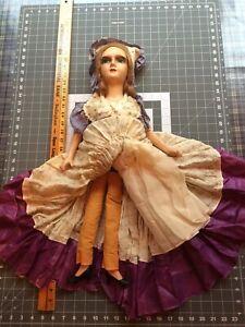 "Antique Boudoir Bed Doll Vintage 27"" All Original - EXCELLENT!"