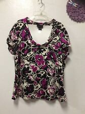 Womens blouse size XL black purple white APOSTROPHE short sleeve 154
