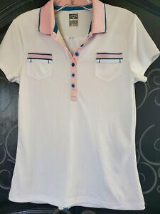 Women's small Callaway Golf shirt NEW Polo Shirt White/Pink pockets opti-dry