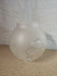 Antique Etched Glass Oil Lamp Globe Floral Vintage Shade Filigree Scalloped Edge