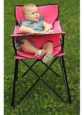 Pink Baby Travel High Chair Meal Feeding Seat Carry Bag Safety Strap Foldable