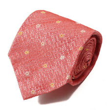 New $230 ISAIA 7-Fold Coral Pink Floral Jacquard Pattern Silk Tie