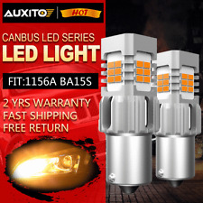 2X 1156 BA15S 1156A Amber LED Turn Signal Lights Anti Hyper Flash Error Free EOB