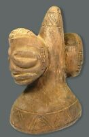 Old Hand Carved Two Face Statue Taino ART Zemi GOD Wood Statue Figure Wooden