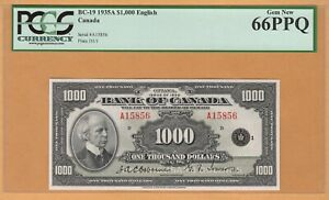 "BANK OF CANADA $1000 Dollars ""ENGLISH"" PCGS-66 PPQ UNC 1935 BC-19/P-56 Banknotes"