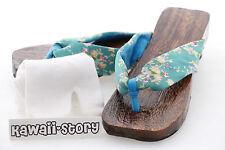 K-G-03 Geta bright-blue Japanese Wood Sandal Tabi Socks Kimono Yukata 9 5/8in/