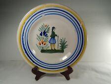 """Henriot Quimper France 8 3/4"""" Pottery Plate. Breton Man. Vintage."""